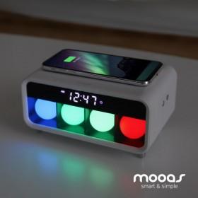 무아스 무소음 LED탁상시계 무드등/무선충전